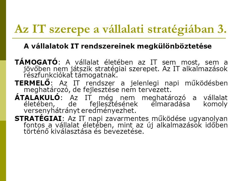 Az IT szerepe a vállalati stratégiában 3.