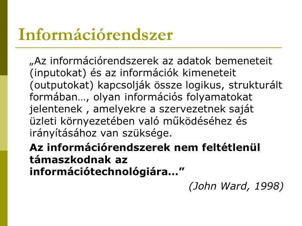 """Információrendszer """"Az információrendszerek az adatok bemeneteit (inputokat) és az információk kimeneteit (outputokat) kapcsolják össze logikus, strukturált formában…, olyan információs folyamatokat jelentenek, amelyekre a szervezetnek saját üzleti környezetében való működéséhez és irányításához van szüksége."""