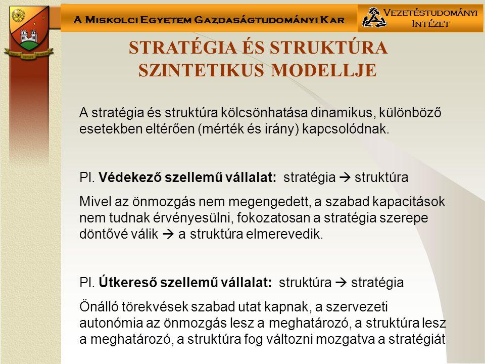 A Miskolci Egyetem Gazdaságtudományi Kar Vezetéstudományi Intézet STRATÉGIA ÉS STRUKTÚRA SZINTETIKUS MODELLJE A stratégia és struktúra kölcsönhatása dinamikus, különböző esetekben eltérően (mérték és irány) kapcsolódnak.