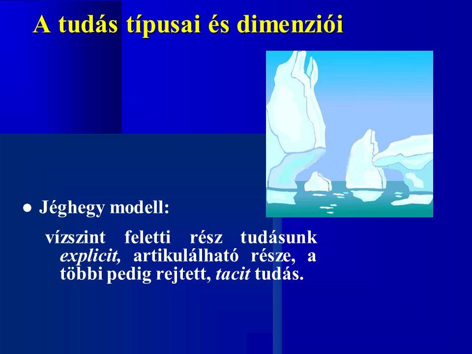A tudás típusai és dimenziói ● Jéghegy modell: vízszint feletti rész tudásunk explicit, artikulálható része, a többi pedig rejtett, tacit tudás.
