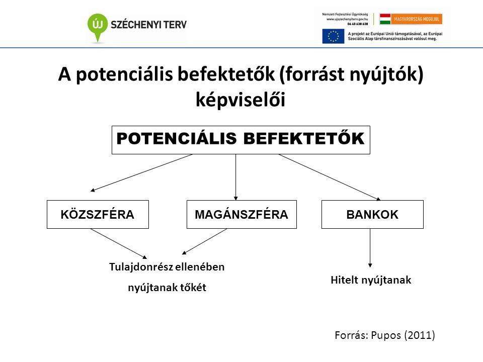 A potenciális befektetők (forrást nyújtók) képviselői BANKOKMAGÁNSZFÉRAKÖZSZFÉRA Hitelt nyújtanak Tulajdonrész ellenében nyújtanak tőkét POTENCIÁLIS BEFEKTETŐK Forrás: Pupos (2011)