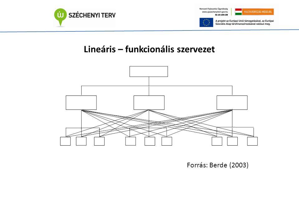 Lineáris – funkcionális szervezet Forrás: Berde (2003)