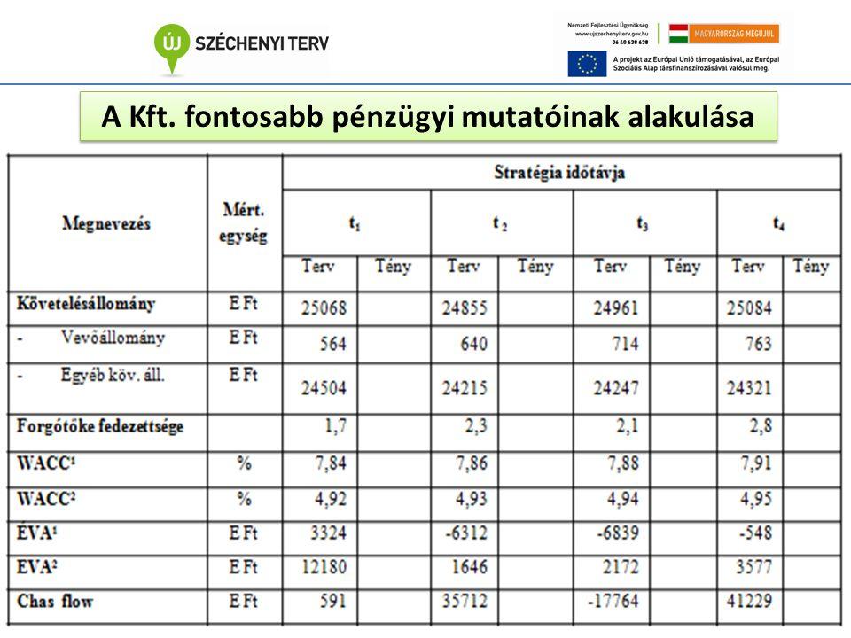 A Kft. fontosabb pénzügyi mutatóinak alakulása