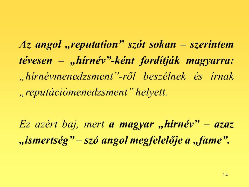 """14 Az angol """"reputation szót sokan – szerintem tévesen – """"hírnév -ként fordítják magyarra: """"hírnévmenedzsment -ről beszélnek és írnak """"reputációmenedzsment helyett."""