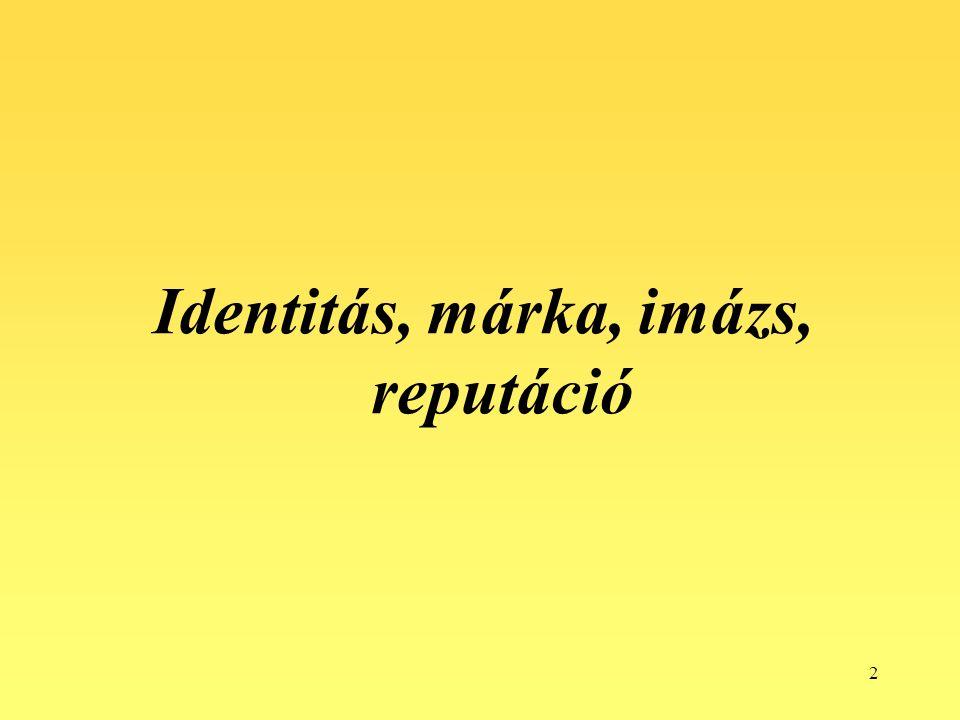 """3 A vállalati identitás különböző szimbólumok együttesét jelenti: a vállalat nevét, elveit, értékeit, logóját, színeit, szlogenjeit – mindazon """"dolgokat , amelyek segítségével az emberek azonosítani tudják a vállalatot."""