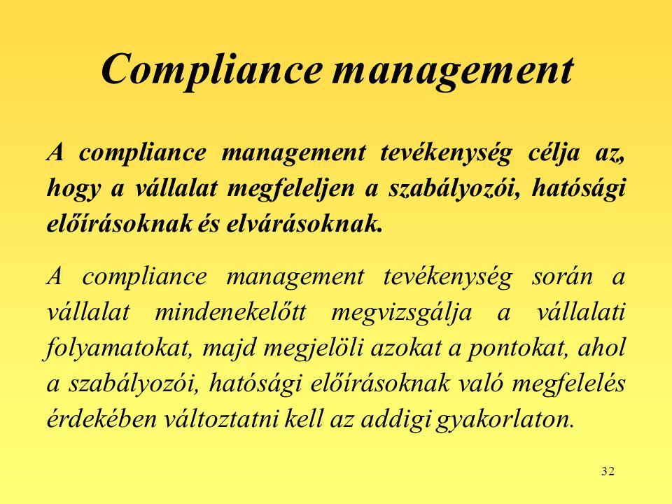32 Compliance management A compliance management tevékenység célja az, hogy a vállalat megfeleljen a szabályozói, hatósági előírásoknak és elvárásoknak.