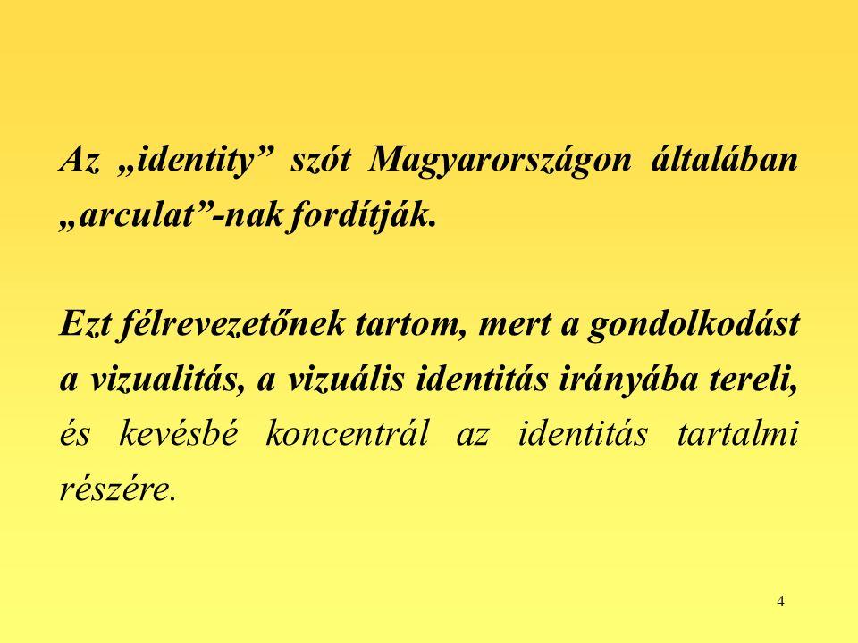 """4 Az """"identity szót Magyarországon általában """"arculat -nak fordítják."""