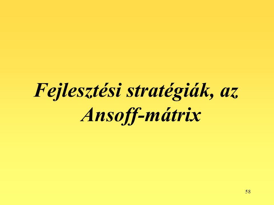 58 Fejlesztési stratégiák, az Ansoff-mátrix