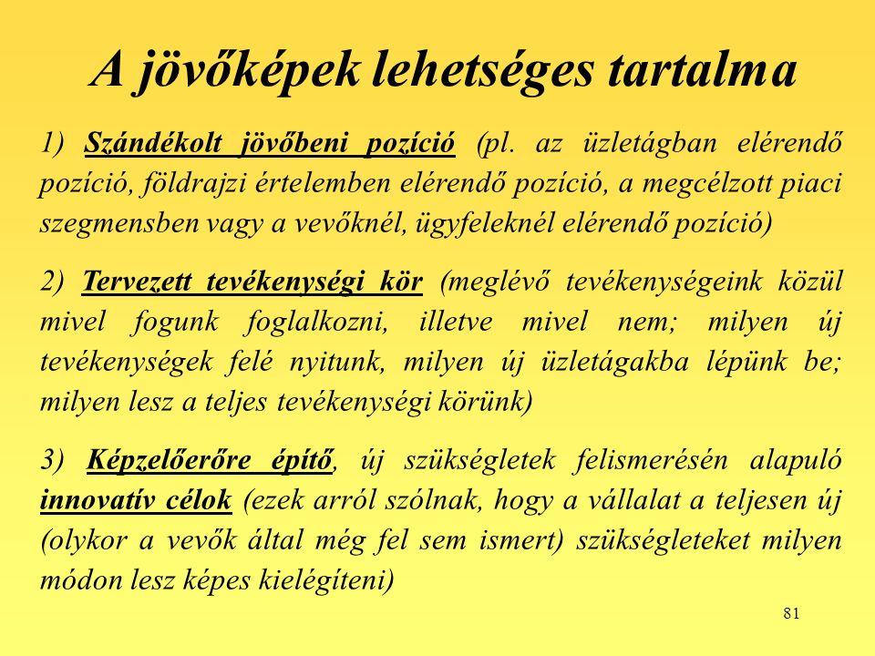 81 A jövőképek lehetséges tartalma 1) Szándékolt jövőbeni pozíció (pl.