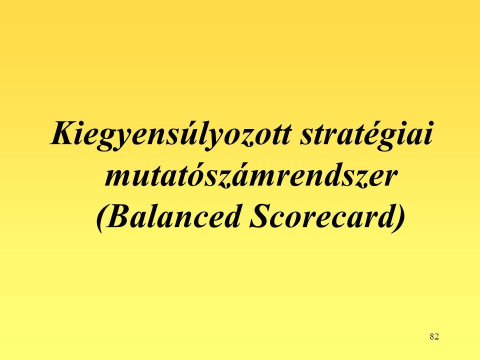 82 Kiegyensúlyozott stratégiai mutatószámrendszer (Balanced Scorecard)