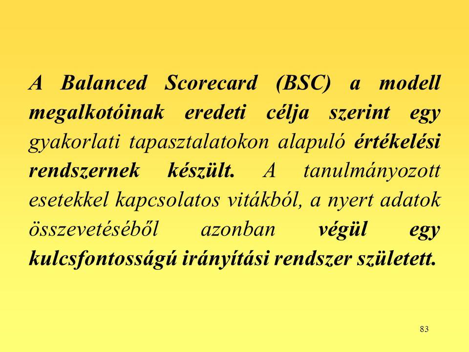 83 A Balanced Scorecard (BSC) a modell megalkotóinak eredeti célja szerint egy gyakorlati tapasztalatokon alapuló értékelési rendszernek készült.