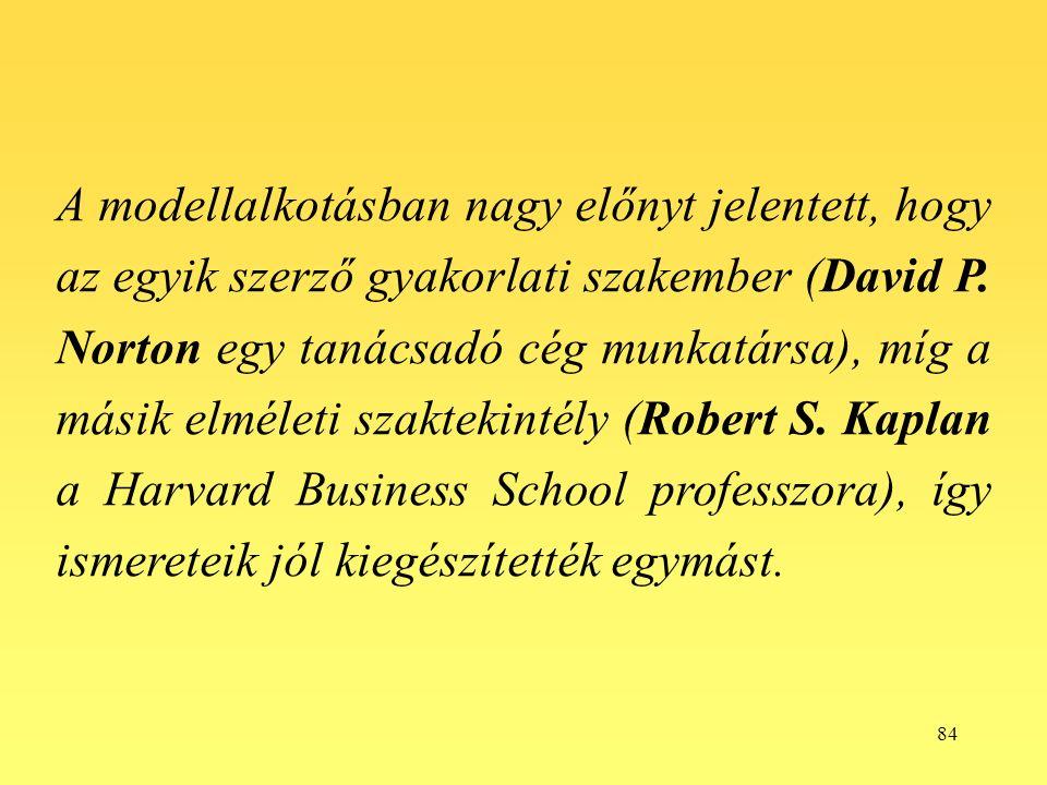 84 A modellalkotásban nagy előnyt jelentett, hogy az egyik szerző gyakorlati szakember (David P.