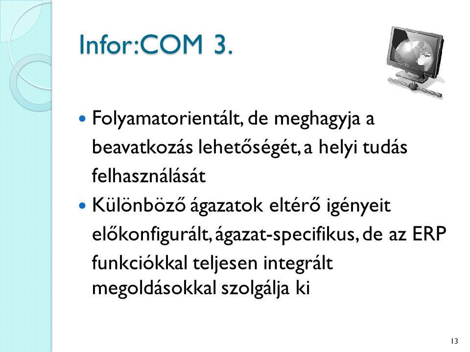 Infor:COM 3. Folyamatorientált, de meghagyja a beavatkozás lehetőségét, a helyi tudás felhasználását Különböző ágazatok eltérő igényeit előkonfigurált