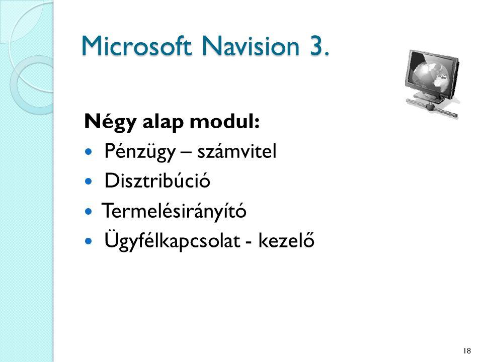 Microsoft Navision 3. Négy alap modul: Pénzügy – számvitel Disztribúció Termelésirányító Ügyfélkapcsolat - kezelő 18