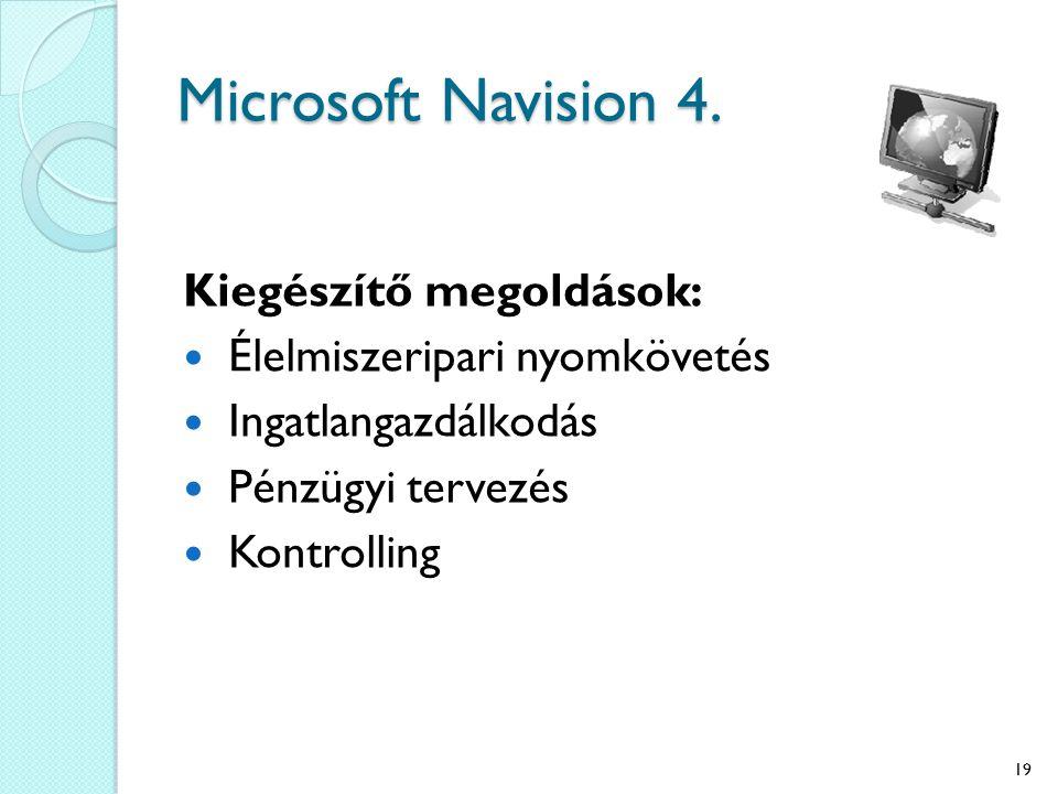 Microsoft Navision 4. Kiegészítő megoldások: Élelmiszeripari nyomkövetés Ingatlangazdálkodás Pénzügyi tervezés Kontrolling 19