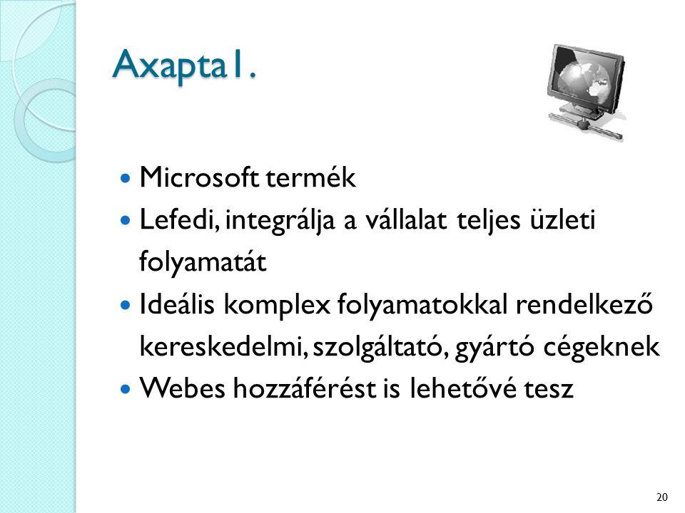 Axapta1. Microsoft termék Lefedi, integrálja a vállalat teljes üzleti folyamatát Ideális komplex folyamatokkal rendelkező kereskedelmi, szolgáltató, g