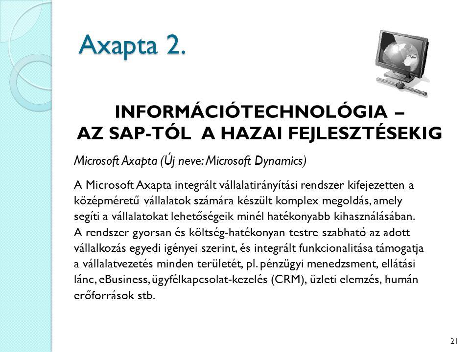 Axapta 2. INFORMÁCIÓTECHNOLÓGIA – AZ SAP-TÓL A HAZAI FEJLESZTÉSEKIG Microsoft Axapta (Új neve: Microsoft Dynamics) A Microsoft Axapta integrált vállal