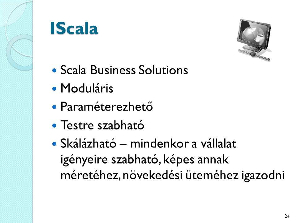 IScala Scala Business Solutions Moduláris Paraméterezhető Testre szabható Skálázható – mindenkor a vállalat igényeire szabható, képes annak méretéhez, növekedési üteméhez igazodni 24