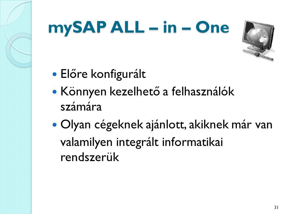 mySAP ALL – in – One Előre konfigurált Könnyen kezelhető a felhasználók számára Olyan cégeknek ajánlott, akiknek már van valamilyen integrált informatikai rendszerük 31