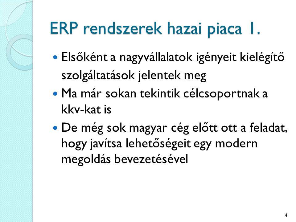 ERP rendszerek hazai piaca 1. Elsőként a nagyvállalatok igényeit kielégítő szolgáltatások jelentek meg Ma már sokan tekintik célcsoportnak a kkv-kat i