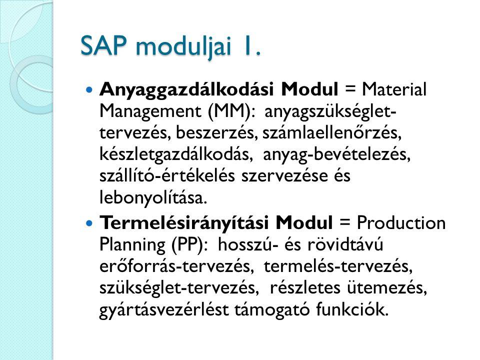 SAP moduljai 1. Anyaggazdálkodási Modul = Material Management (MM): anyagszükséglet- tervezés, beszerzés, számlaellenőrzés, készletgazdálkodás, anyag-