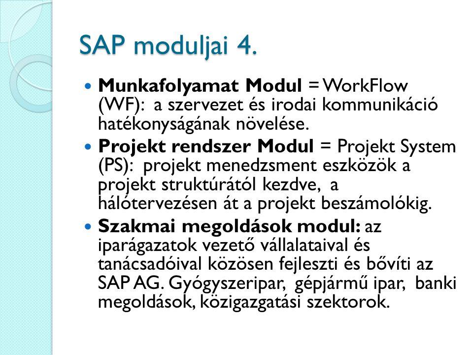 SAP moduljai 4. Munkafolyamat Modul = WorkFlow (WF): a szervezet és irodai kommunikáció hatékonyságának növelése. Projekt rendszer Modul = Projekt Sys