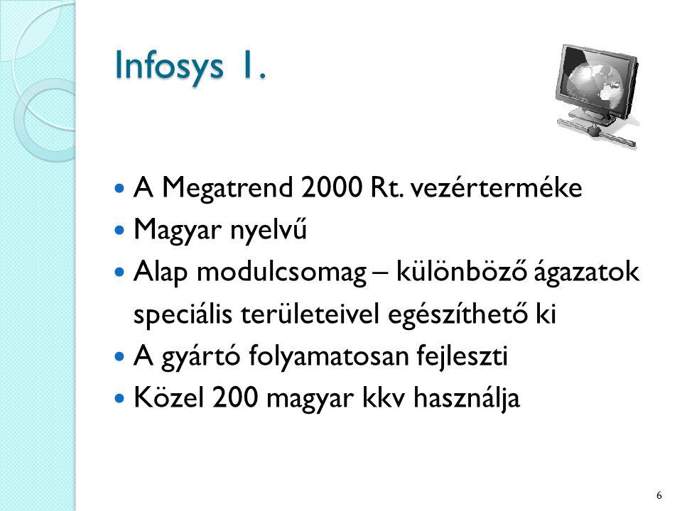 Infosys 1. A Megatrend 2000 Rt. vezérterméke Magyar nyelvű Alap modulcsomag – különböző ágazatok speciális területeivel egészíthető ki A gyártó folyam