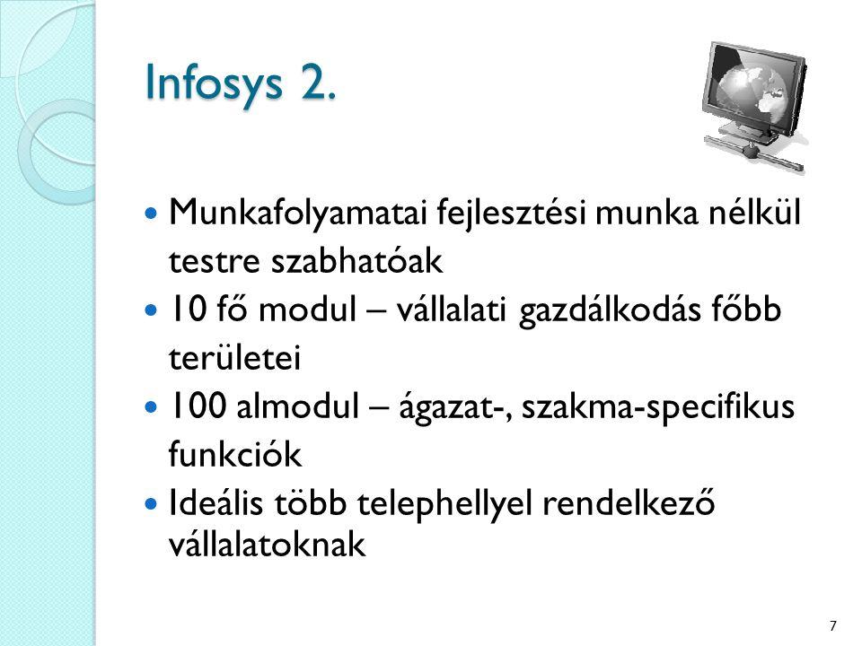 Infosys 2. Munkafolyamatai fejlesztési munka nélkül testre szabhatóak 10 fő modul – vállalati gazdálkodás főbb területei 100 almodul – ágazat-, szakma