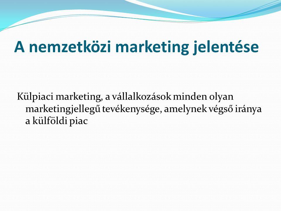 A nemzetközi marketing jelentése Külpiaci marketing, a vállalkozások minden olyan marketingjellegű tevékenysége, amelynek végső iránya a külföldi piac