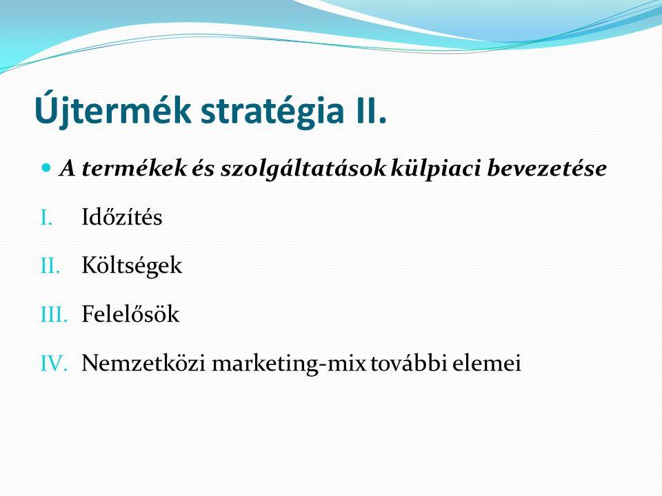 Újtermék stratégia II. A termékek és szolgáltatások külpiaci bevezetése I.