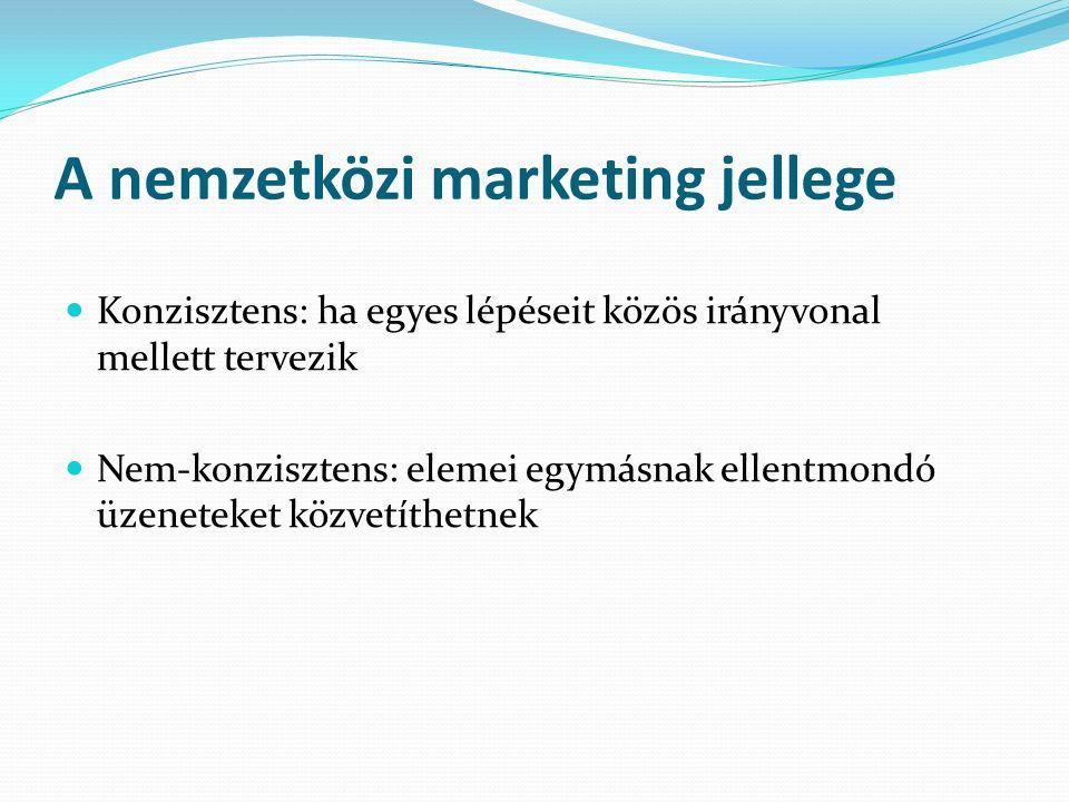 A nemzetközi marketing jellege Konzisztens: ha egyes lépéseit közös irányvonal mellett tervezik Nem-konzisztens: elemei egymásnak ellentmondó üzeneteket közvetíthetnek
