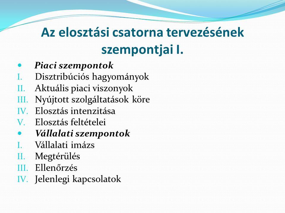 Az elosztási csatorna tervezésének szempontjai I. Piaci szempontok I.