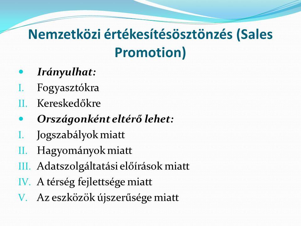 Nemzetközi értékesítésösztönzés (Sales Promotion) Irányulhat: I.
