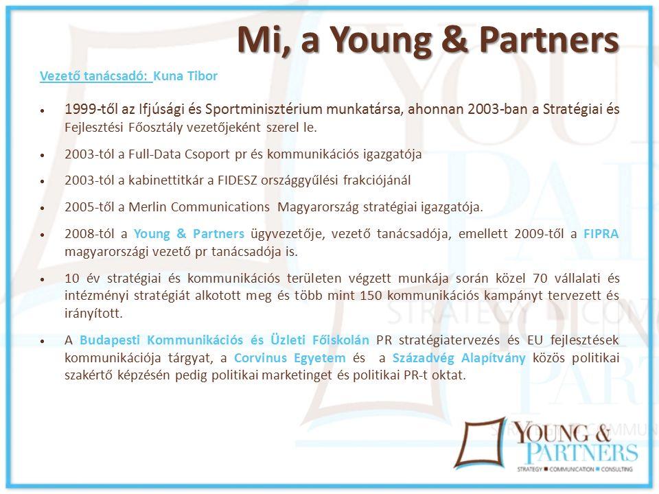 Mi, a Young & Partners Vezető tanácsadó: Kuna Tibor  1999-től az Ifjúsági és Sportminisztérium munkatársa, ahonnan 2003-ban a Stratégiai és Fejlesztési Főosztály vezetőjeként szerel le.