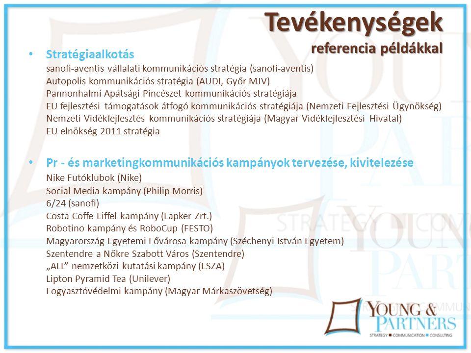 """Tevékenységek referencia példákkal Stratégiaalkotás sanofi-aventis vállalati kommunikációs stratégia (sanofi-aventis) Autopolis kommunikációs stratégia (AUDI, Győr MJV) Pannonhalmi Apátsági Pincészet kommunikációs stratégiája EU fejlesztési támogatások átfogó kommunikációs stratégiája (Nemzeti Fejlesztési Ügynökség) Nemzeti Vidékfejlesztés kommunikációs stratégiája (Magyar Vidékfejlesztési Hivatal) EU elnökség 2011 stratégia Pr - és marketingkommunikációs kampányok tervezése, kivitelezése Nike Futóklubok (Nike) Social Media kampány (Philip Morris) 6/24 (sanofi) Costa Coffe Eiffel kampány (Lapker Zrt.) Robotino kampány és RoboCup (FESTO) Magyarország Egyetemi Fővárosa kampány (Széchenyi István Egyetem) Szentendre a Nőkre Szabott Város (Szentendre) """"ALL nemzetközi kutatási kampány (ESZA) Lipton Pyramid Tea (Unilever) Fogyasztóvédelmi kampány (Magyar Márkaszövetség)"""