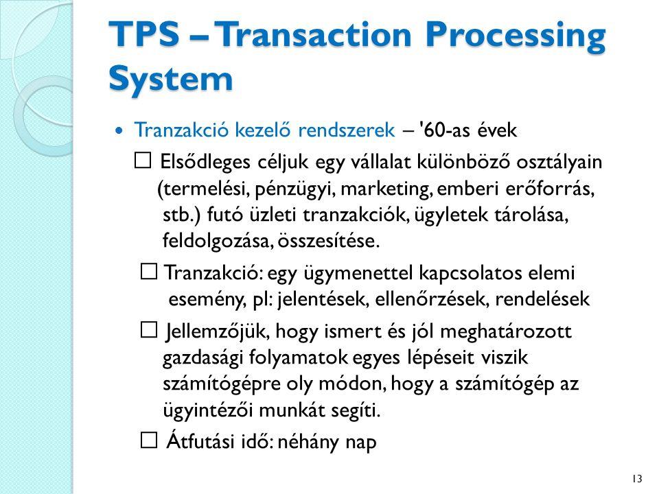 TPS – Transaction Processing System Tranzakció kezelő rendszerek – 60-as évek Elsődleges céljuk egy vállalat különböző osztályain (termelési, pénzügyi, marketing, emberi erőforrás, stb.) futó üzleti tranzakciók, ügyletek tárolása, feldolgozása, összesítése.