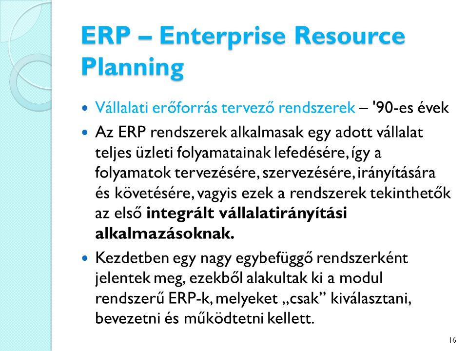 ERP – Enterprise Resource Planning Vállalati erőforrás tervező rendszerek – 90-es évek Az ERP rendszerek alkalmasak egy adott vállalat teljes üzleti folyamatainak lefedésére, így a folyamatok tervezésére, szervezésére, irányítására és követésére, vagyis ezek a rendszerek tekinthetők az első integrált vállalatirányítási alkalmazásoknak.