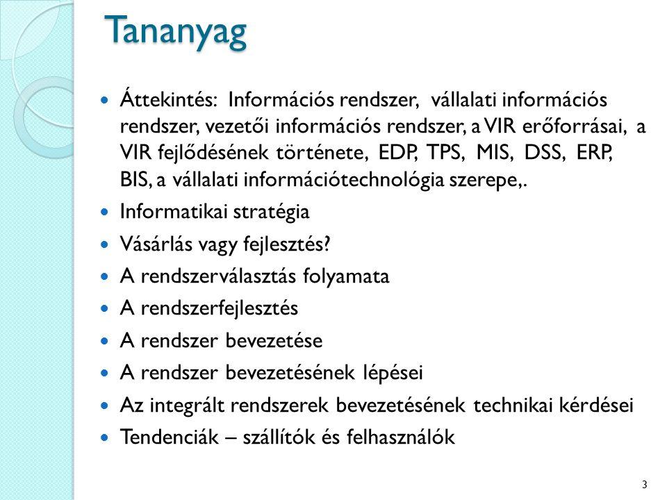 Tananyag Áttekintés: Információs rendszer, vállalati információs rendszer, vezetői információs rendszer, a VIR erőforrásai, a VIR fejlődésének története, EDP, TPS, MIS, DSS, ERP, BIS, a vállalati információtechnológia szerepe,.
