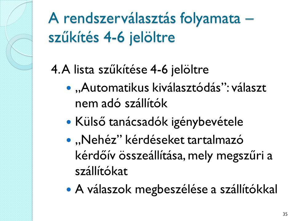 A rendszerválasztás folyamata – szűkítés 4-6 jelöltre 4.