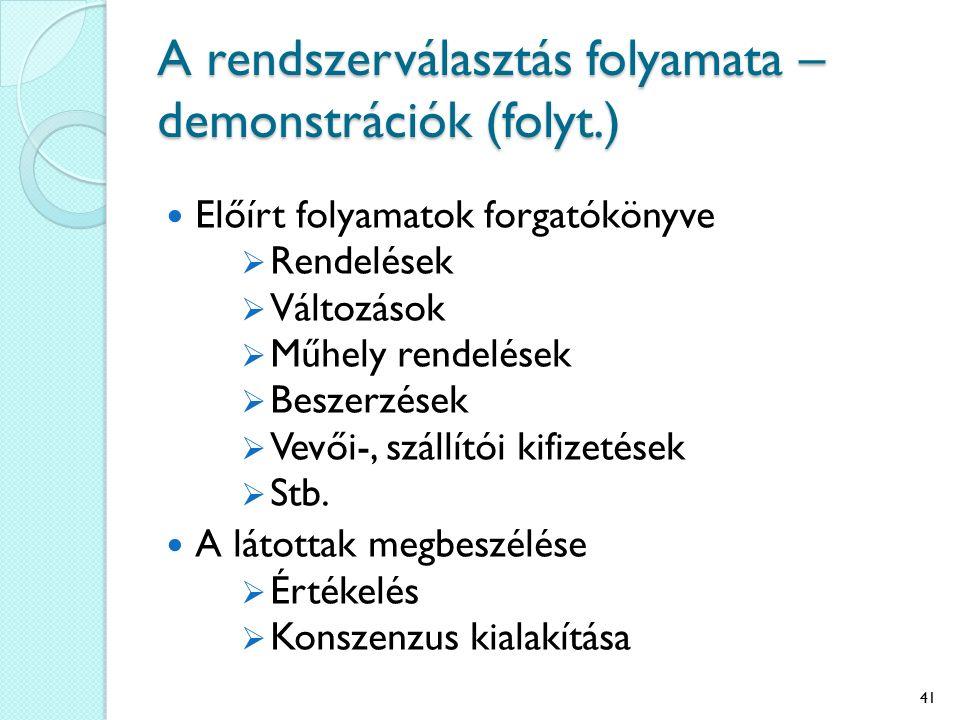 A rendszerválasztás folyamata – demonstrációk (folyt.) Előírt folyamatok forgatókönyve  Rendelések  Változások  Műhely rendelések  Beszerzések  Vevői-, szállítói kifizetések  Stb.