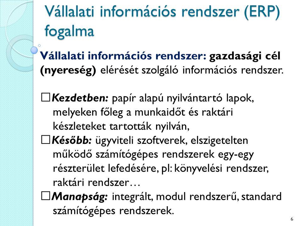 Vállalati információs rendszer (ERP) fogalma Vállalati információs rendszer: gazdasági cél (nyereség) elérését szolgáló információs rendszer.