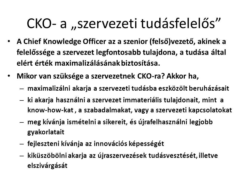 """CKO- a """"szervezeti tudásfelelős A Chief Knowledge Officer az a szenior (felső)vezető, akinek a felelőssége a szervezet legfontosabb tulajdona, a tudása által elért érték maximalizálásának biztosítása."""