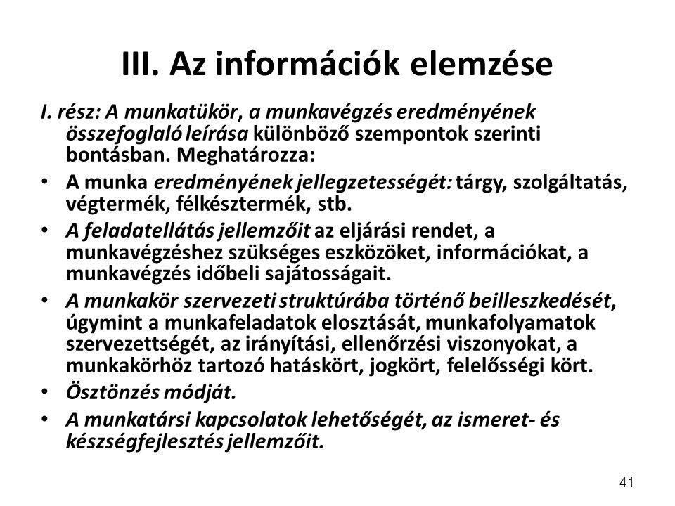 41 III.Az információk elemzése I.