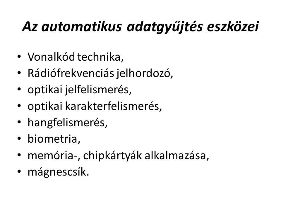 Az automatikus adatgyűjtés eszközei Vonalkód technika, Rádiófrekvenciás jelhordozó, optikai jelfelismerés, optikai karakterfelismerés, hangfelismerés, biometria, memória-, chipkártyák alkalmazása, mágnescsík.