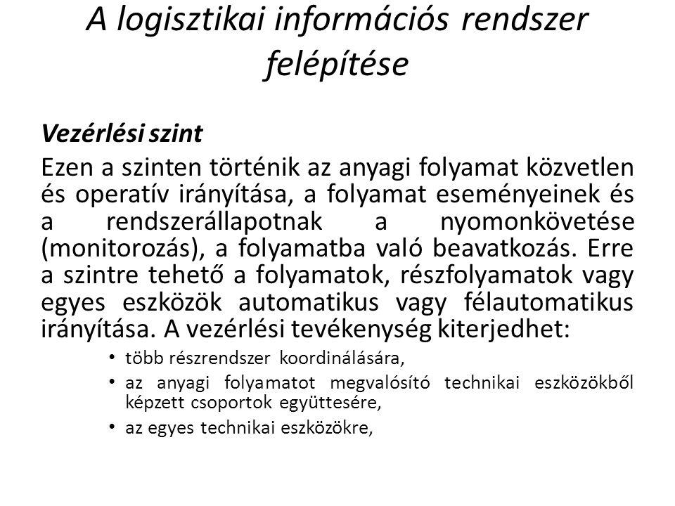 A logisztikai információs rendszer felépítése Vezérlési szint Ezen a szinten történik az anyagi folyamat közvetlen és operatív irányítása, a folyamat eseményeinek és a rendszerállapotnak a nyomonkövetése (monitorozás), a folyamatba való beavatkozás.
