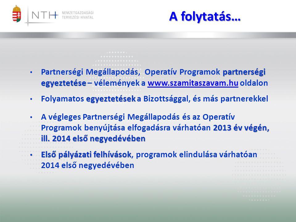 partnerségi egyeztetése Partnerségi Megállapodás, Operatív Programok partnerségi egyeztetése – vélemények a www.szamitaszavam.hu oldalonwww.szamitaszavam.hu egyeztetések Folyamatos egyeztetések a Bizottsággal, és más partnerekkel 2013 év végén, ill.