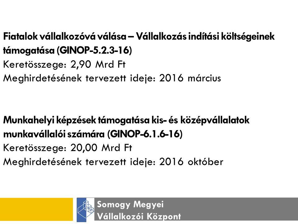 Somogy Megyei Vállalkozói Központ Fiatalok vállalkozóvá válása – Vállalkozás indítási költségeinek támogatása (GINOP-5.2.3-16) Keretösszege: 2,90 Mrd Ft Meghirdetésének tervezett ideje: 2016 március Munkahelyi képzések támogatása kis- és középvállalatok munkavállalói számára (GINOP-6.1.6-16) Keretösszege: 20,00 Mrd Ft Meghirdetésének tervezett ideje: 2016 október