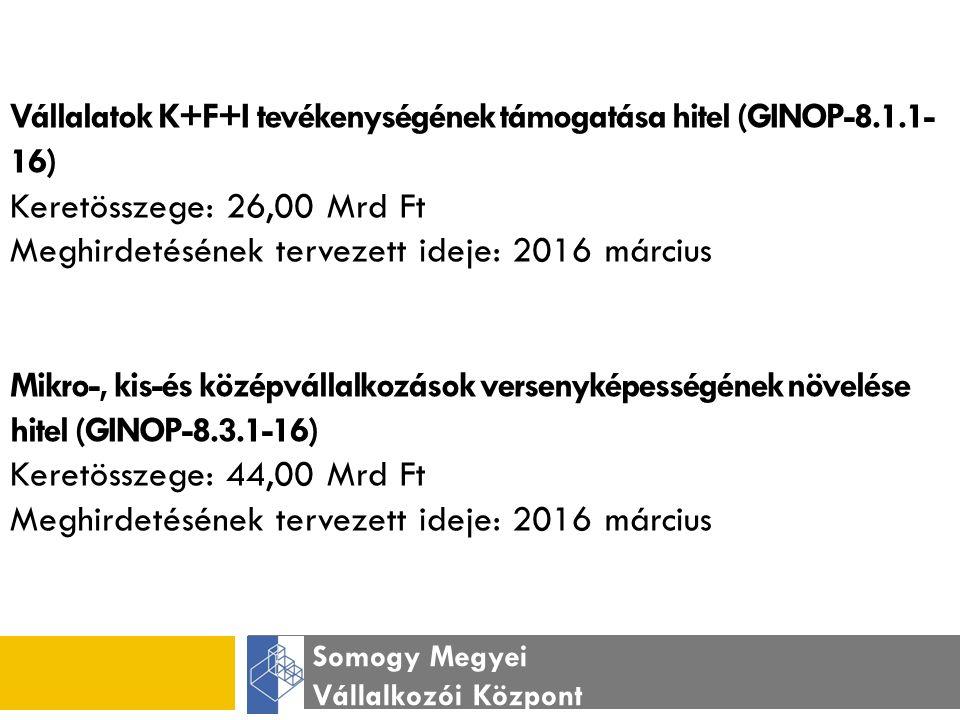 Somogy Megyei Vállalkozói Központ KKV Versenyképesség kockázati tőkeprogram (GINOP-8.3.3-16) Keretösszege: 21,00 Mrd Ft Meghirdetésének tervezett ideje: 2016 szeptember Mikro-, kis-és középvállalkozások termelési kapacitásainak bővítése keretében finanszírozott kombinált hitel (GINOP-8.3.4-1.2.3-16) Keretösszege: 75,00 Mrd Ft Meghirdetésének tervezett ideje: 2016 július