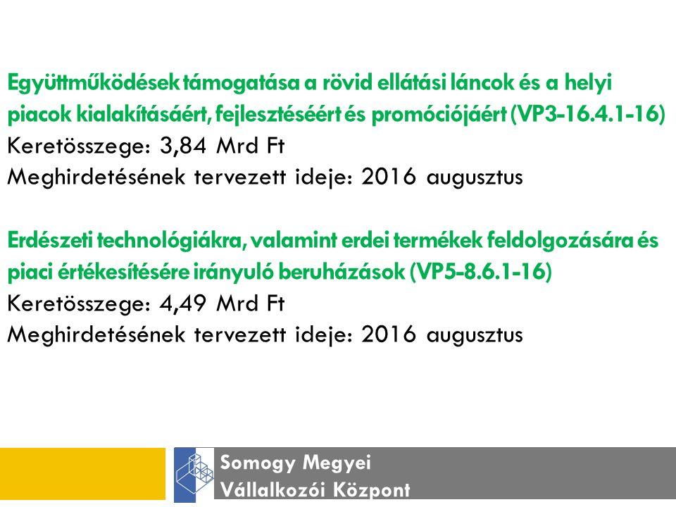 Somogy Megyei Vállalkozói Központ Nem mezőgazdasági tevékenységek elindításának támogatása – mezőgazdasági tevékenységek diverzifikációja, mikrovállalkozás indítása (VP6-6.2.1-16) Keretösszege: 13,85 Mrd Ft Meghirdetésének tervezett ideje: 2016 február Nem mezőgazdasági tevékenységek beindítására és fejlesztésére irányuló beruházások támogatása (VP6-6.4.1-16) Keretösszege: 35,93 Mrd Ft Meghirdetésének tervezett ideje: 2016 május