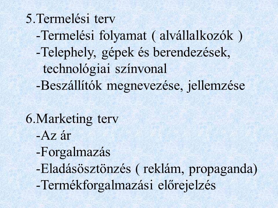 3.Iparágelemzés -Trendek és kilátások -A versenytársak elemzése -A célpiac behatárolása ( szegmentálás ) 4.A vállalkozás bemutatása -Termék(ek) -Szolgáltatás(ok) -A vállalkozás mérete -A vállalkozás szakmai háttere
